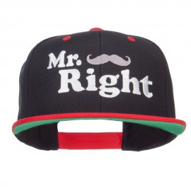 Mr Right Mustache Embroidered Snapback
