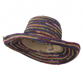 Multi Striped Crocheted Kettle Brim Hat - Bright Multi