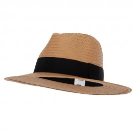 Men's Toyo Paper Braid Wide Ribbon Band Accented Large Brim Fedora Hat