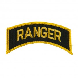 Military Related Text Embroidered Patch - Ranger Gold