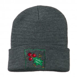 Christmas Mistletoe with Frame Embroidered Beanie