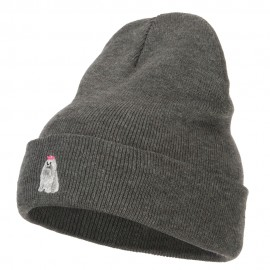 Maltese Embroidered Long Beanie