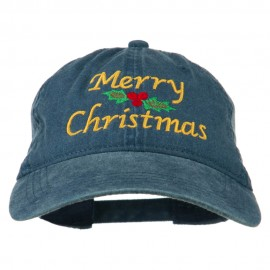 Merry Christmas Mistletoe Embroidered Washed Dyed Cap
