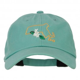 Massachusetts Trailing Arbutus with Map Embroidered Unstructured Washed Cap