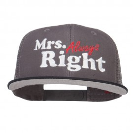 Mrs Always Right Embroidered Mesh Snapback