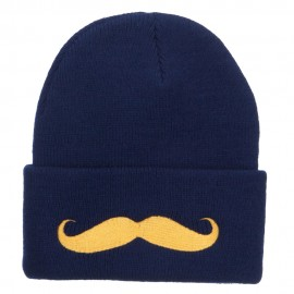 Gold Mustache Embroidered Long Knit Beanie