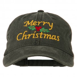 Merry Christmas Mistletoe Embroidered Washed Dyed Cap - Black