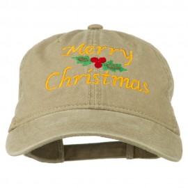 Merry Christmas Mistletoe Embroidered Washed Dyed Cap - Khaki