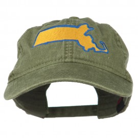 Massachusetts State Map Embroidered Washed Cap
