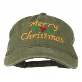 Merry Christmas Mistletoe Embroidered Washed Dyed Cap - Olive Green