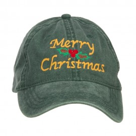 Merry Christmas Mistletoe Embroidered Washed Dyed Cap - Dk Green