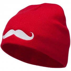 Mustache Embroidered Short Beanie