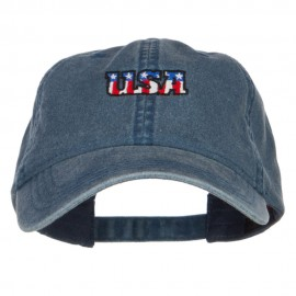 Mini USA Flag Embroidered Washed Cap - Navy