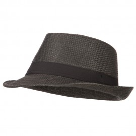 Men's Woven Paper Fedora Hat with Black Band