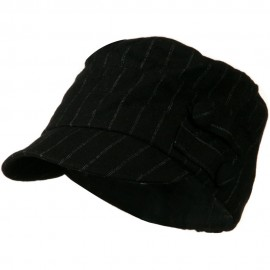 Army Cadet Military Cap with Buttons - Black Pin Stripe