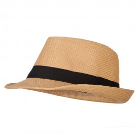 Men's Woven Paper Fedora Hat with Black Band - Bronze