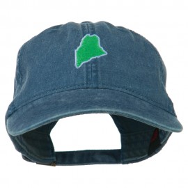 Maine State Map Embroidered Washed Cotton Cap