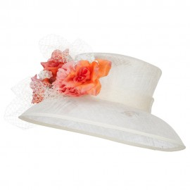 Mixed Flower Decoration Sinamay Hat
