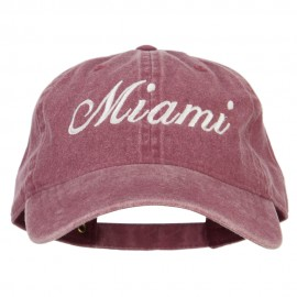 Miami City Embroidered Washed Buckle Cap