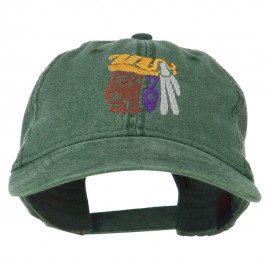 Mayan Head Embroidered Washed Cap