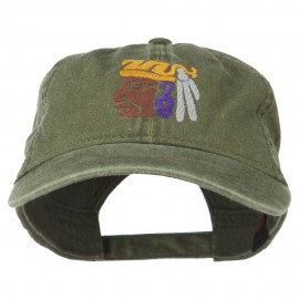 Mayan Head Embroidered Washed Cap - Olive Green