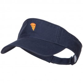 Mini Pizza Embroidered Cotton Washed Visor