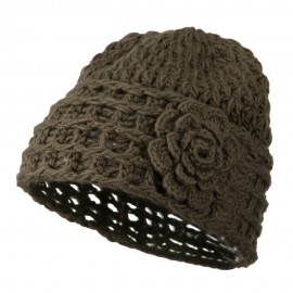 Woman's Knit Acrylic Flower Beanie - Mocha