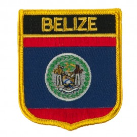North and South America Flag Embroidered Patch Shield - Belize