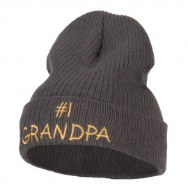 Number 1 Grandpa Embroidered Big Size Cuff Long Beanie