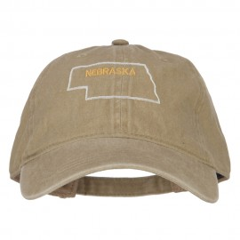 Nebraska with Map Outline Embroidered Washed Cotton Twill Cap