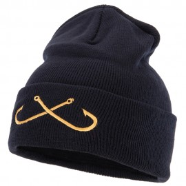 Fishing Crossed Fishhooks Embroidered 12 Inch Long Knitted Beanie