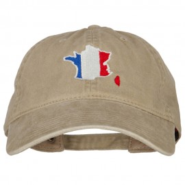 France Flag Map Embroidered Washed Cotton Twill Cap