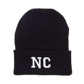 NC North Carolina Embroidered Long Beanie