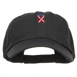 Red White Blue Ribbon Embroidered Low Cap