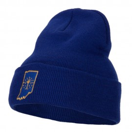 Indiana State Flag Map Embroidered Long Beanie