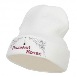 Halloween Haunted House Embroidered Beanie