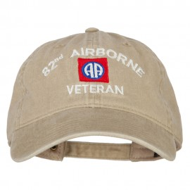 82nd Airborne Veteran Embroidered Washed Cotton Twill Cap - Khaki