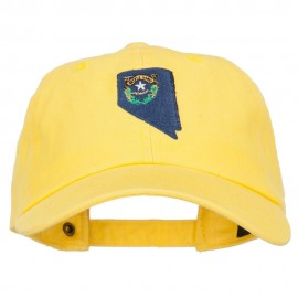 Nevada State Flag Map Embroidered Unstructured Washed Cap