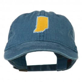 Indiana State Map Embroidered Washed Cotton Cap