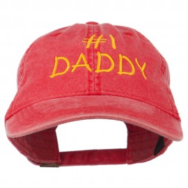 Number One Daddy Embroidered Washed Cotton Cap - Red
