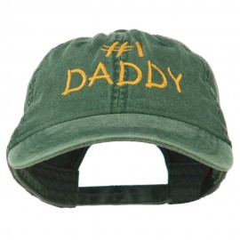 Number One Daddy Embroidered Washed Cotton Cap - Dark Green