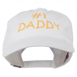 Number One Daddy Embroidered Washed Cotton Cap - White