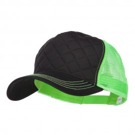 Quilted Trucker Two Tone Neon Mesh Big Size Cap