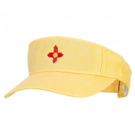 New Mexico Flag Logo Embroidered Pro Style Cotton Washed Visor