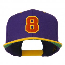 Number 8 Embroidered Classic Snapback Two Tone Cap