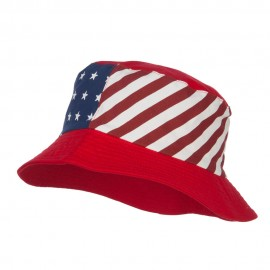 Reversible American Flag Bucket Hat - Red