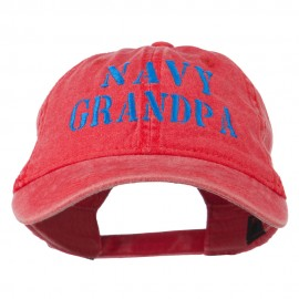 Navy Grandpa Embroidered Washed Cotton Cap