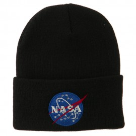 NASA Insignia Embroidered Long Beanie - Black