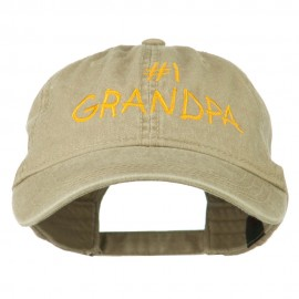 Number 1 Grandpa Letters Embroidered Washed Cotton Cap