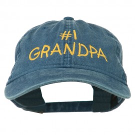 Number 1 Grandpa Letters Embroidered Washed Cotton Cap - Navy